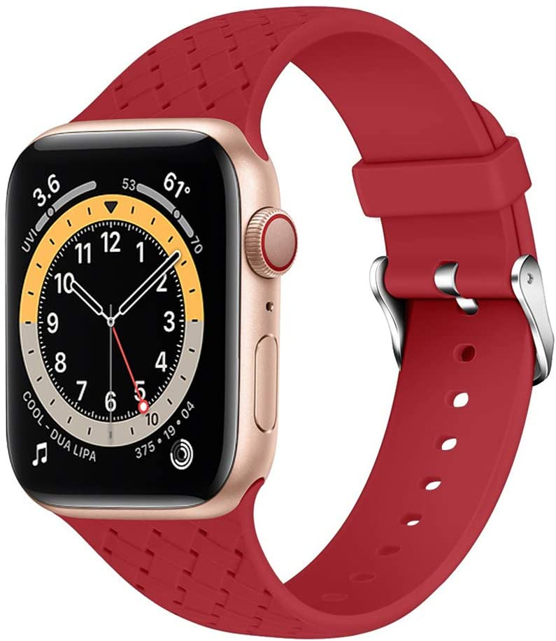 Sports Replacement Band Compatible with Apple Watch 38mm 40mm 42mm 44mm Soft Silicone Strap Wristband for Men and Women Compatible with Iwatch 1/2/3/4/5/6/SE Strap US-8AS08 (42mm44mm S/M,Color3)