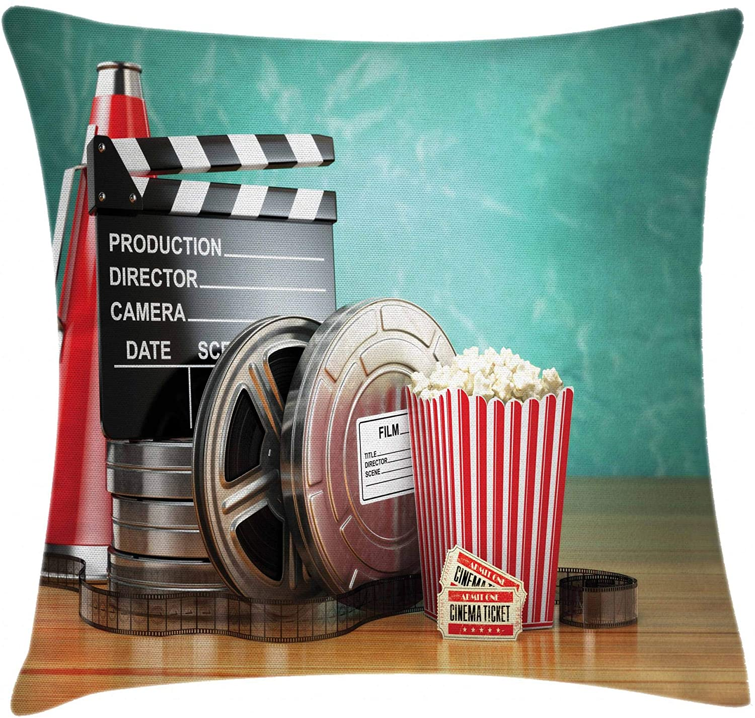 Ambesonne Movie Theater Throw Pillow Cushion Cover, Production Theme 3D Film Reels Clapperboard Tickets Popcorn and Megaphone, Decorative Square Accent Pillow Case, 18