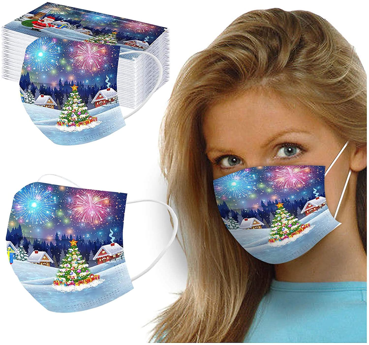 HheJIshirc 10/50PC Christmas Disposable Unisex Mask for Face,Dust-Proof Breathable Printed Fireworks Christmas Tree Mask,3 Ply Non-Woven Mask for Adult