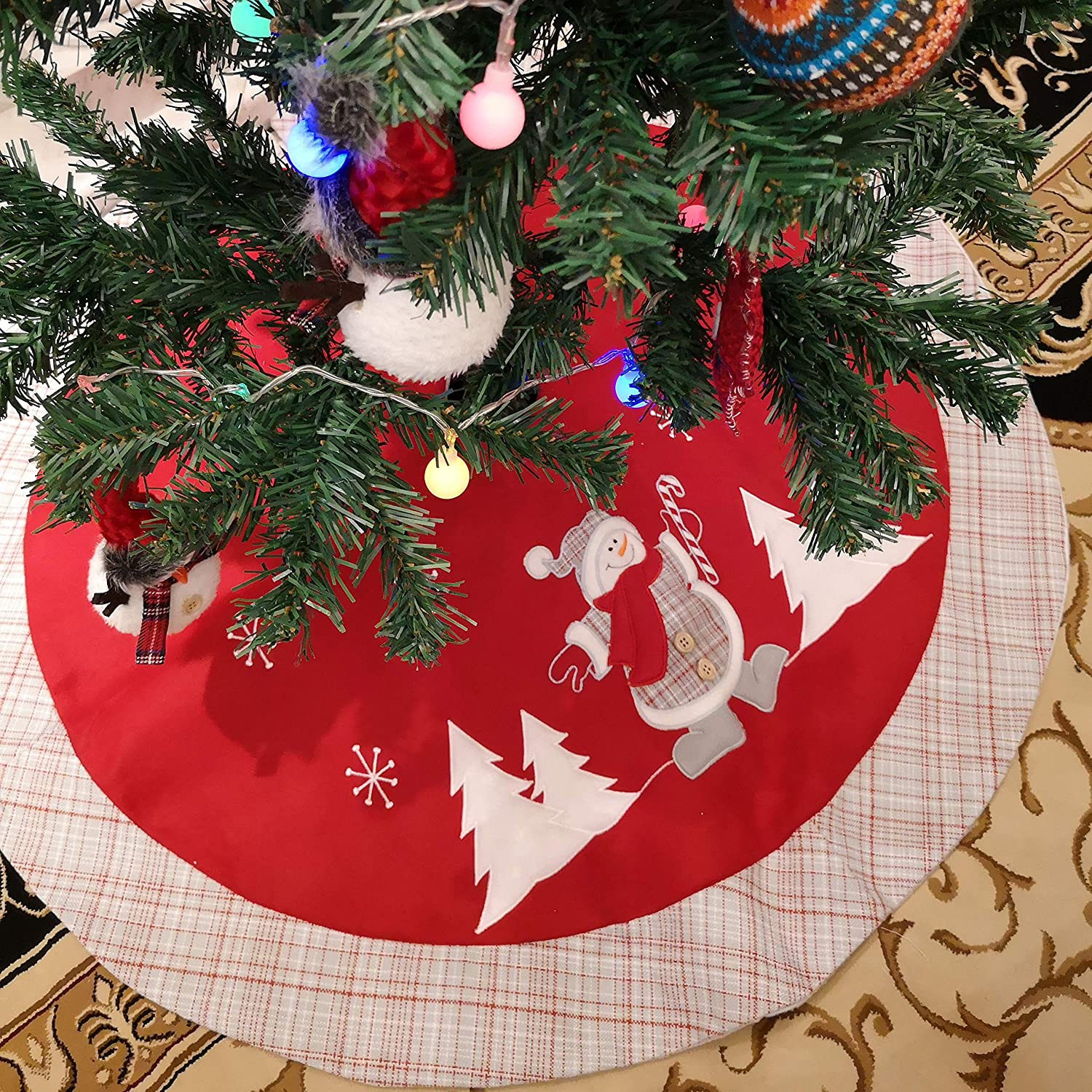 WEWILL 36'' Double Layers Thick Christmas Tree Skirt Red Felt with Classic White Trim Border Embroidered Santa Claus Snowflake Xmas Tree Skirt Holiday Decorations