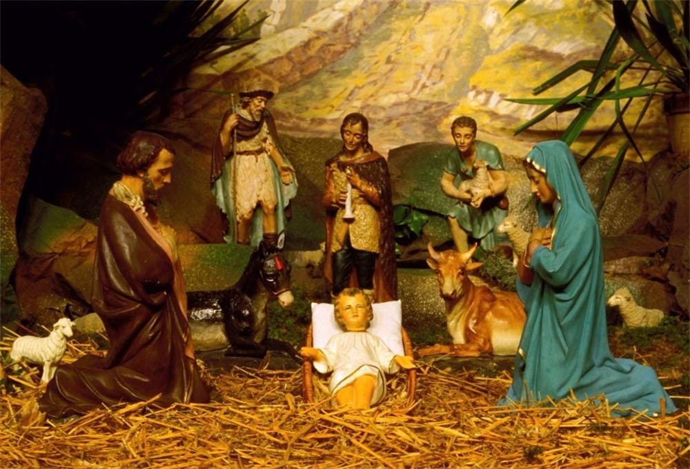 LFEEY 5x3ft Christ Child Juses Birthplace Backdrop Farmhouse Barn Manger Scene Origin of Christmas Religious Holy Family Mary and Joseph Nativity Background Cloth Photo Studio Props