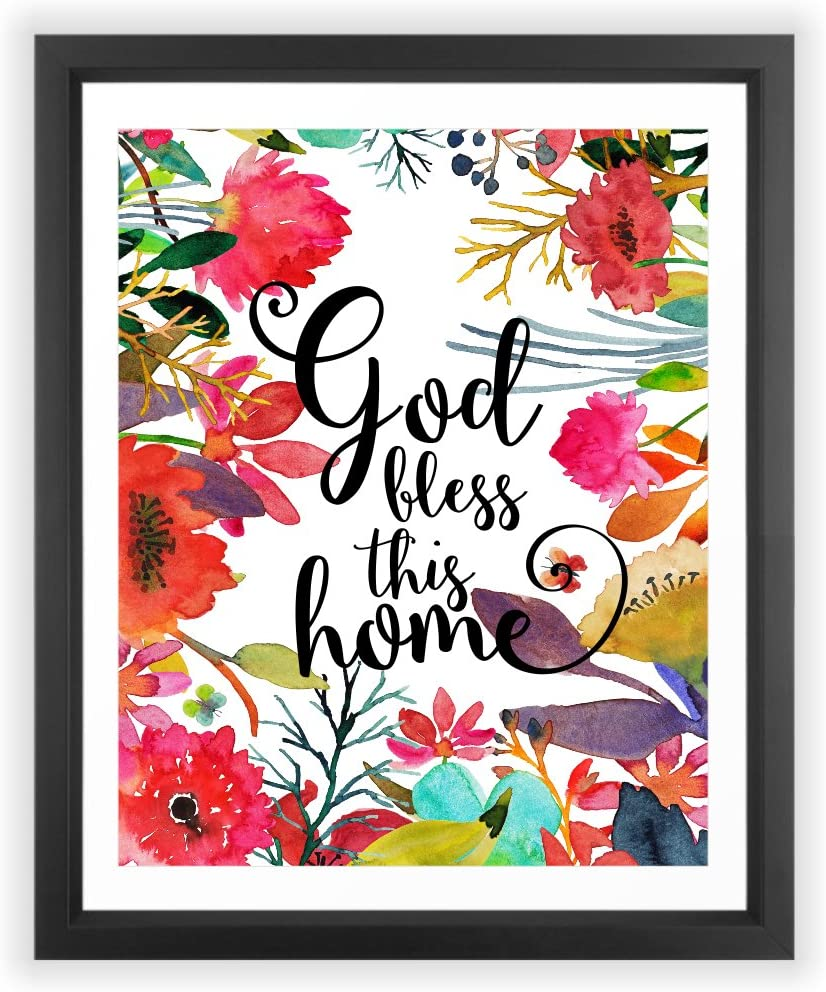 Eleville 8X10 God Bless This Home Floral Watercolor Art Print (Unframed) Family Room Quote Wall Art Home Decor Home Quote Art New Housewarming Gift WG069