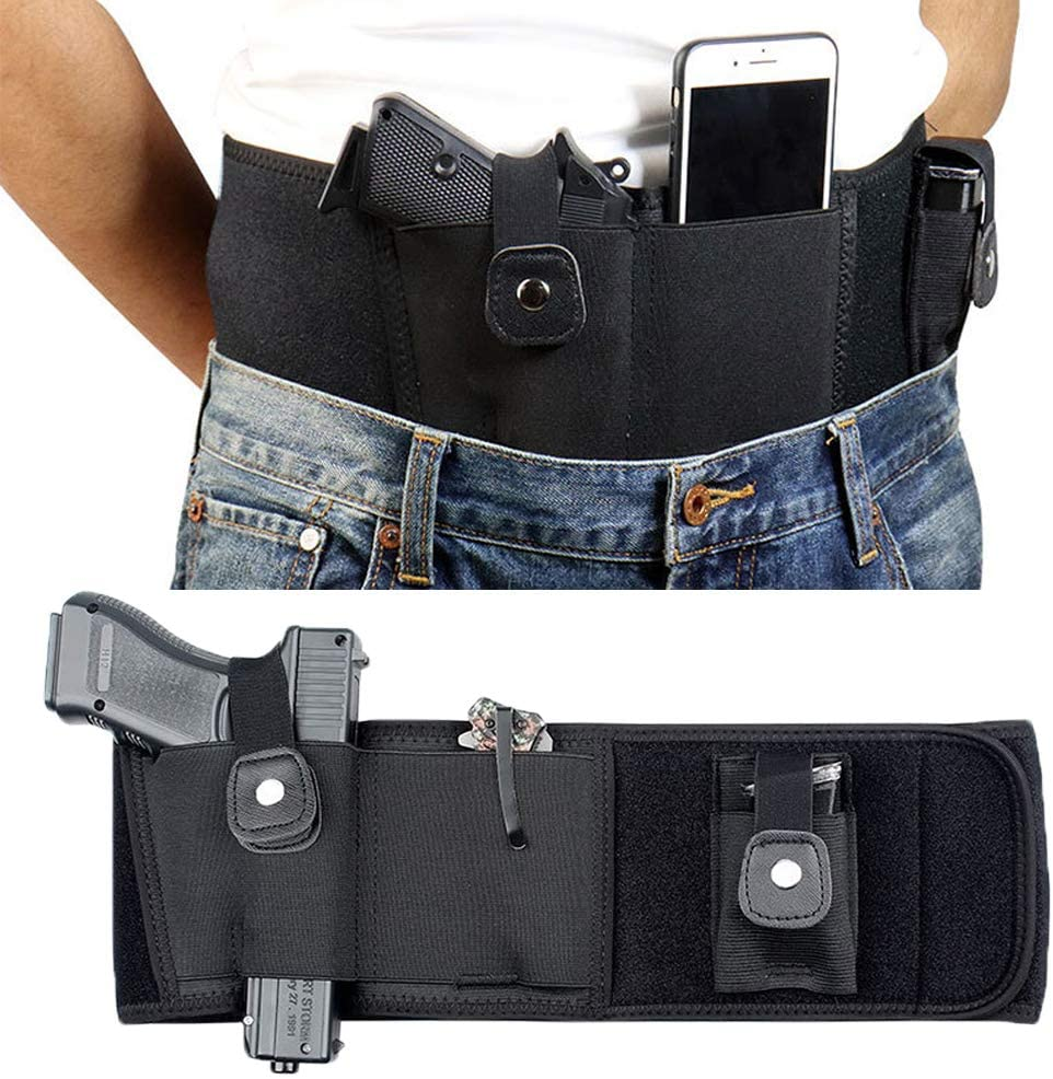 Knownyou Belly Band Holsters for Concealed Carry, Tactic Gun Holster for Women Men,Breathable Neoprene Waist Pistol Holster with Pouch, Fits Most Pistols and Revolvers,Handgun, Revolvers, Glock