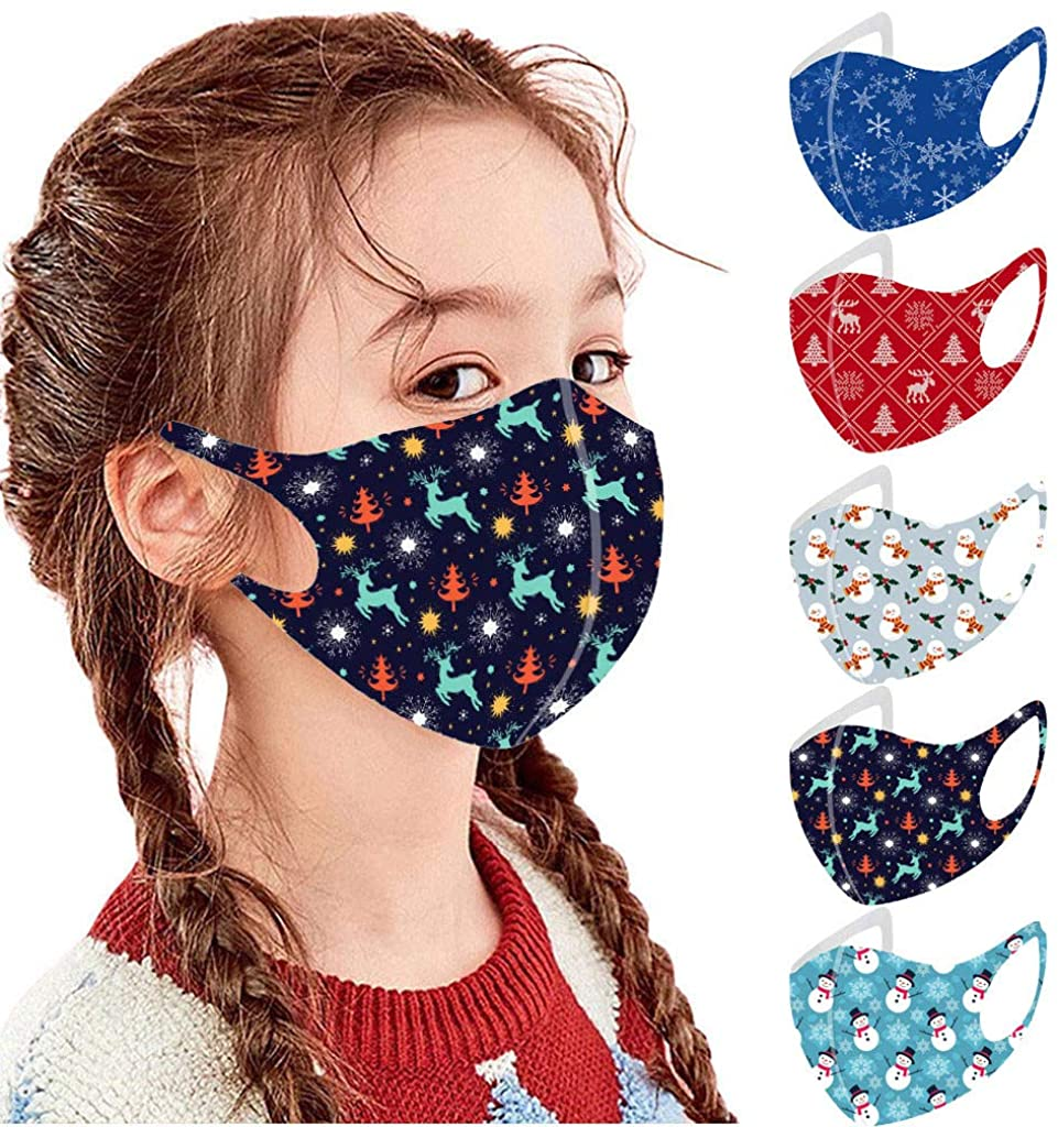 5Pcs Halloween Kids Face_Mask Reusable Breathable Washable Cute Face Covering For Children Boys Girls Facemasks