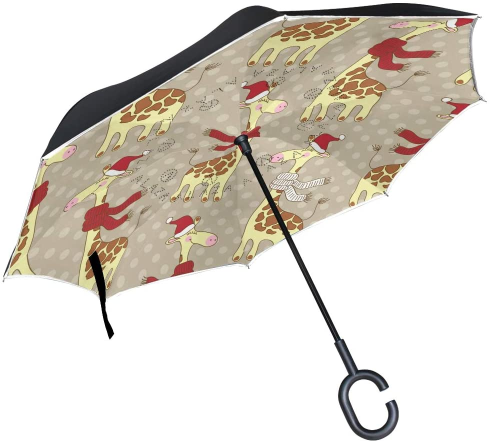 SUABO Reverse Folding Umbrella Giraffes Wear Hat Inverted Umbrellas Double Layer Windproof Umbrella for Car Rain Outdoor with C-Shaped Handle