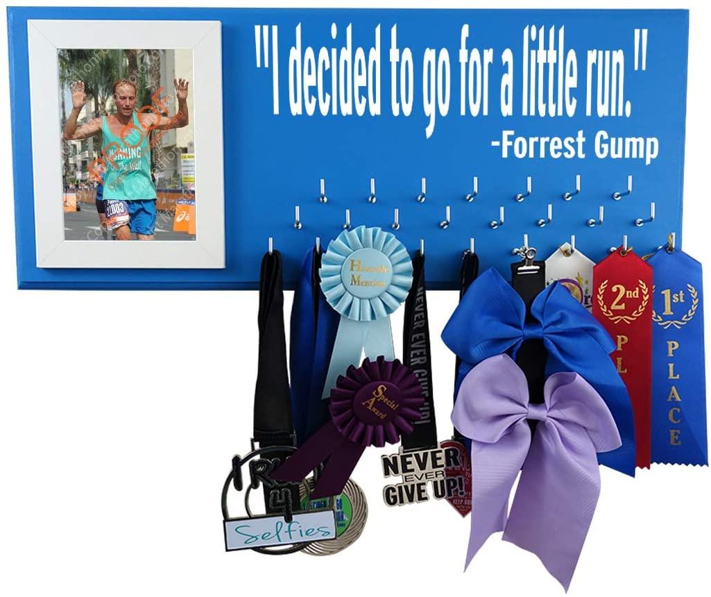 Race bib Medal Display - I Decided to GO A Little Run - Forrest Gump - Running Medal Holder - Running Medal Hanger - Running Medal Rack Hooks