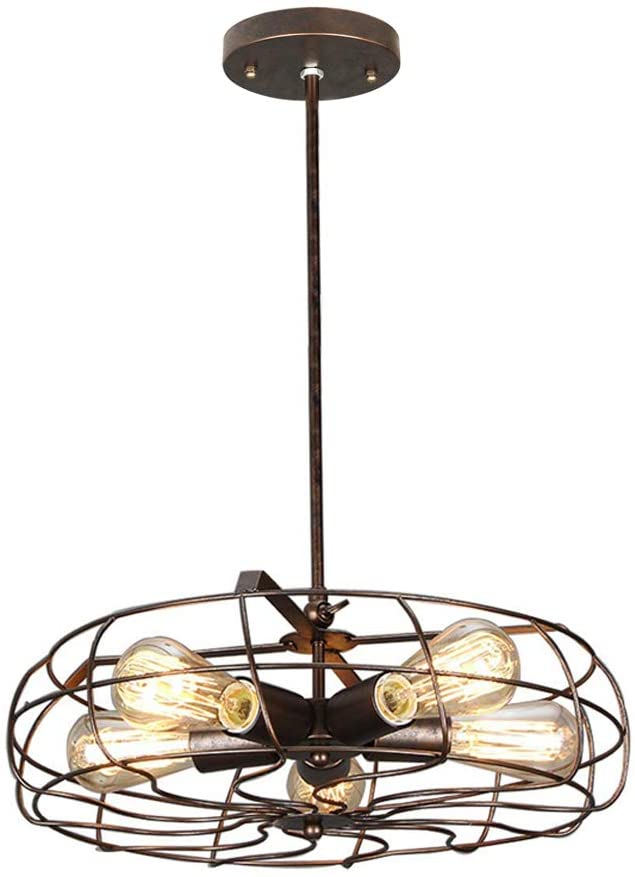 NIUYAO Industrial Vintage Barn Rustic Pendant Light Metal Hanging Ceiling Chandelier with 5 Lights Painted Finish 422080