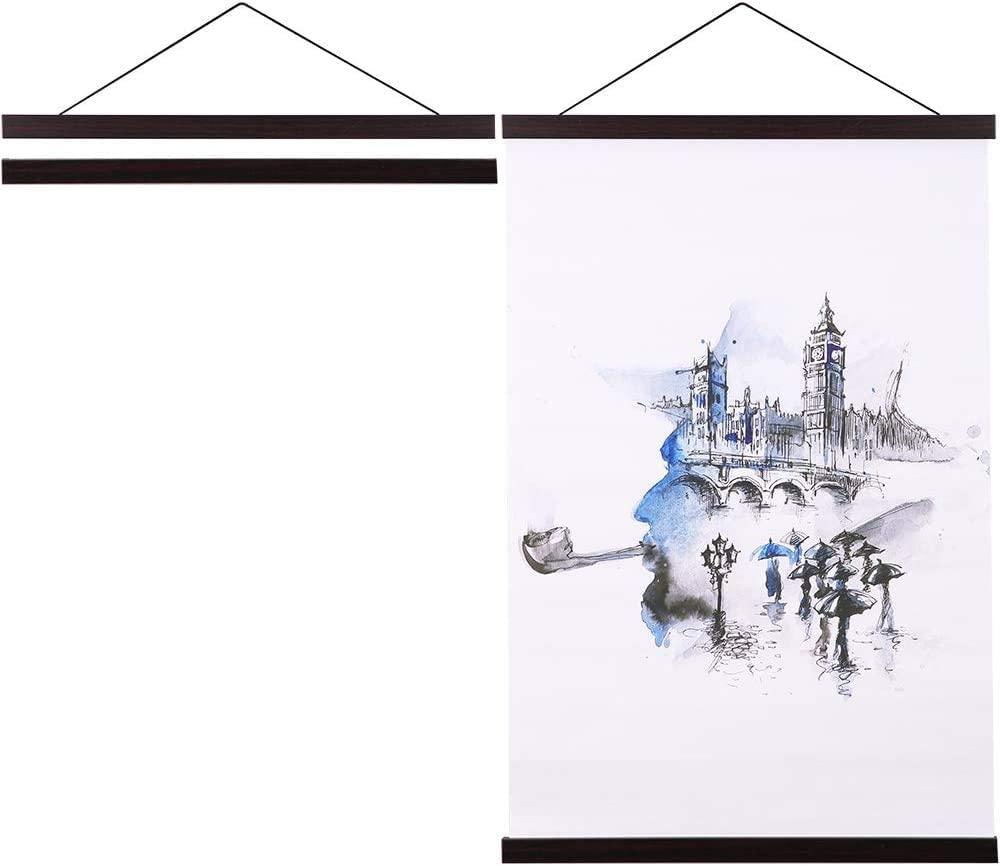 Mimacoo Magnetic Poster Hanger,21x21 21x15 21x27 Light Wood Wooden Magnet Canvas Artwork Print Dowel Poster Hangers Frames Hanging Kit for Walls Map Scrolls Hanging Wooden Frame (Walnut, 21
