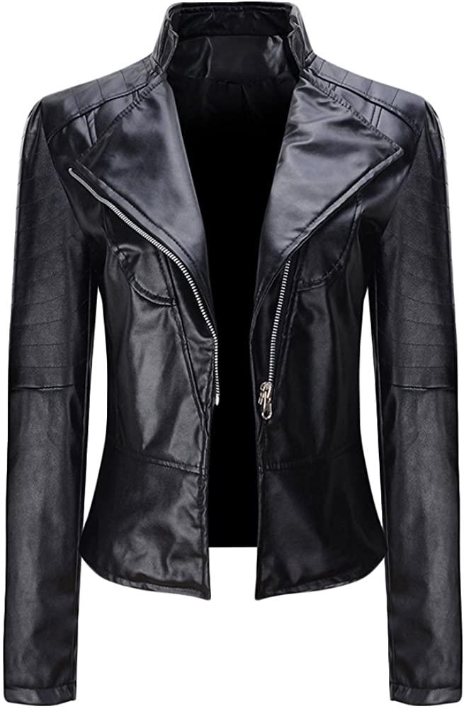 Women Black Faux PU Leather Jacket Stand Collar Zip up Slim Fit Bomber Moto Biker Blazer Coat