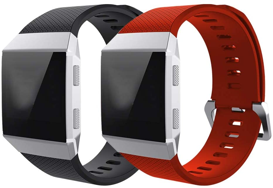 Fcloud 2Pcs Sport Bands Compatible with Fitbit Ionic Smart Watc Soft Replacement Sport Wristbands for Women/Men (Black/Red, Large)