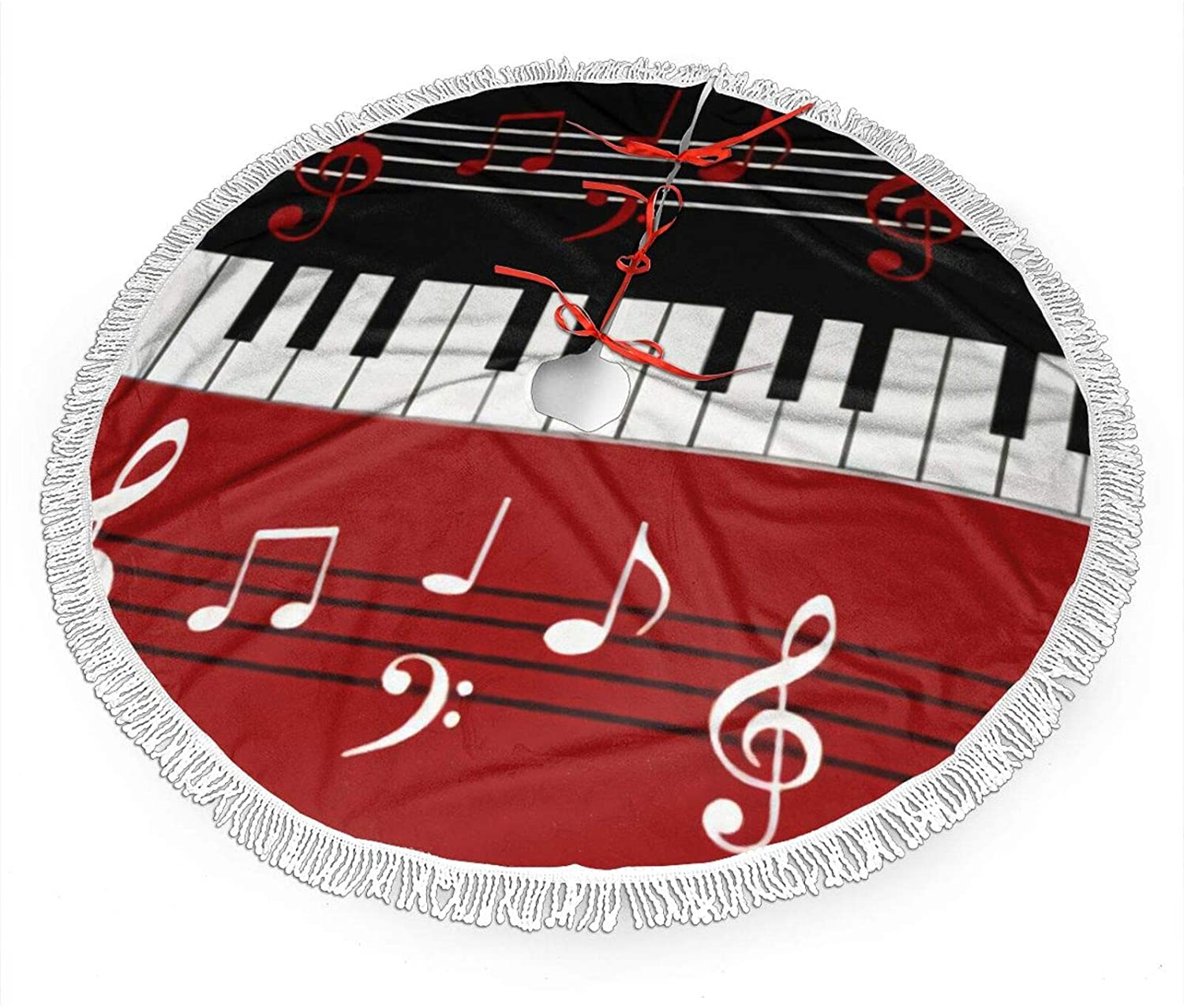 antcreptson Red Black White Piano Keys and Notes Christmas Tree Skirt 30-inch Holiday Christmas Tree Skirt Christmas Tree Skirt Ornaments Christmas Skirt Indoor Indoor Outdoor