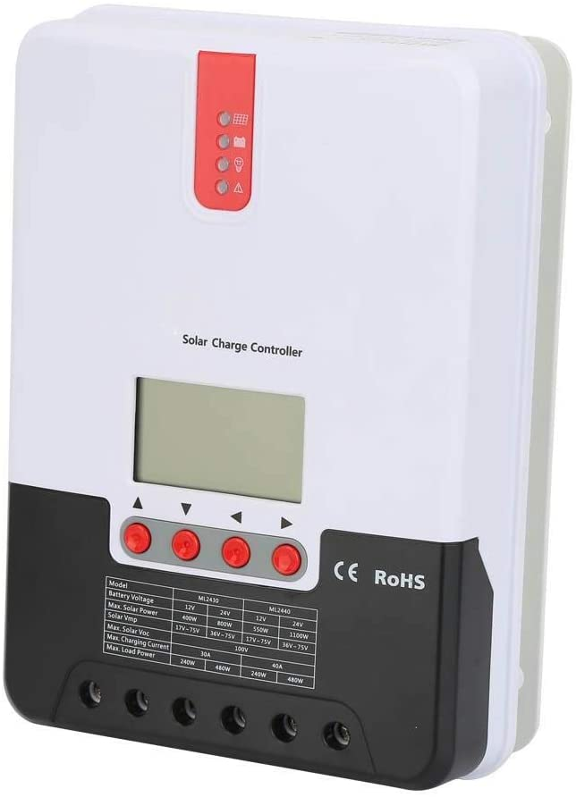 Solar Charge Controller, 20/30/40A 12V 24V MPPT Solar Charge Controller with LCD Display Compatible with Sealed, Gel, Open Battery and Lithium Batteries(30A ML2430)