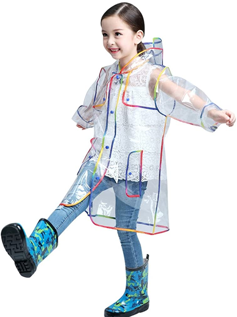 Mother and Children Transparent with Colorful Edge Fashion Raincoat
