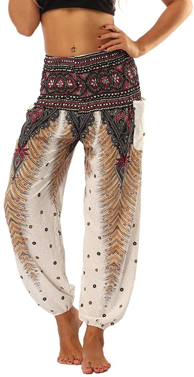 Adogirl Women's Boho Yoga Pants Harem Hippie Palazzo Baggy Gypsy Indian Lounge Pants