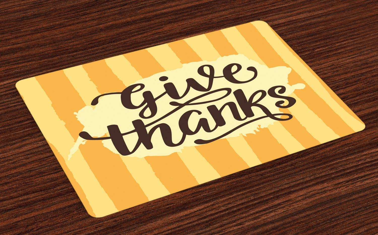 Lunarable Thanksgiving Place Mats Set of 4, Hand Written Give Thanks on Brushstroke Strips, Washable Fabric Placemats for Dining Room Kitchen Table Decor, Mustard Pale Orange Pale Yellow Seal Brown
