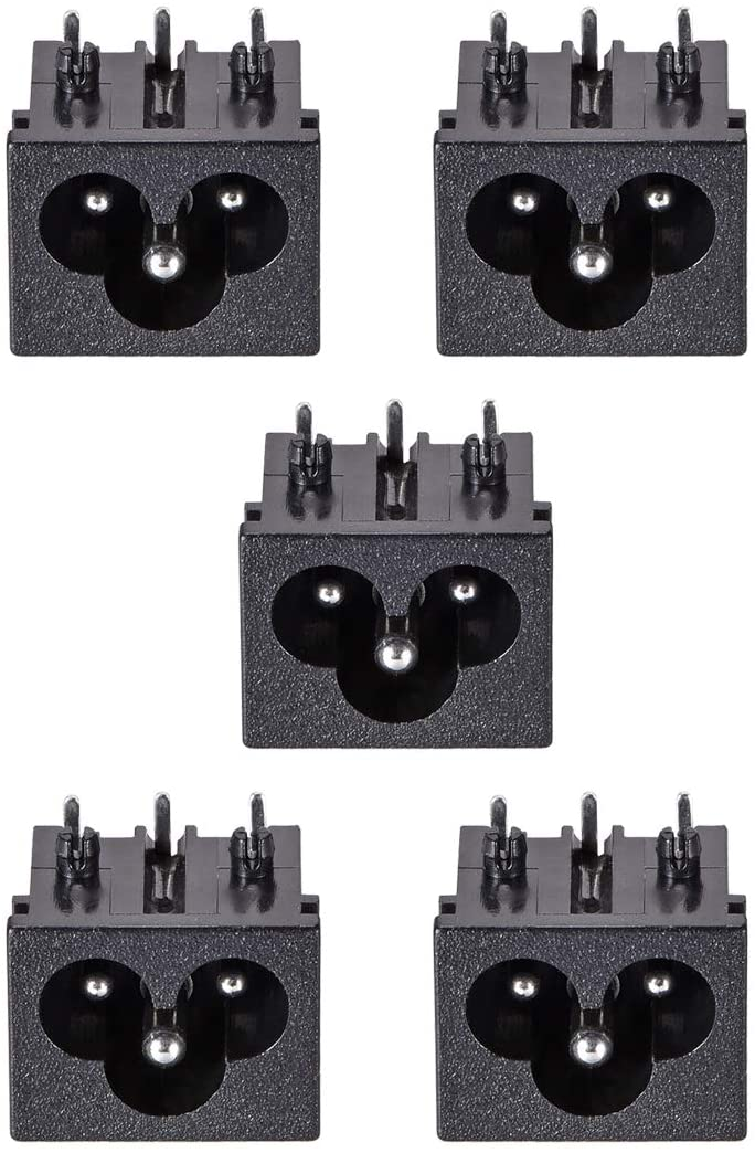 uxcell C6 Panel Mount Plug Adapter AC 250V 2.5A 3 Pins IEC Inlet Module Plug Power Connector Socket Right Angle 5pcs