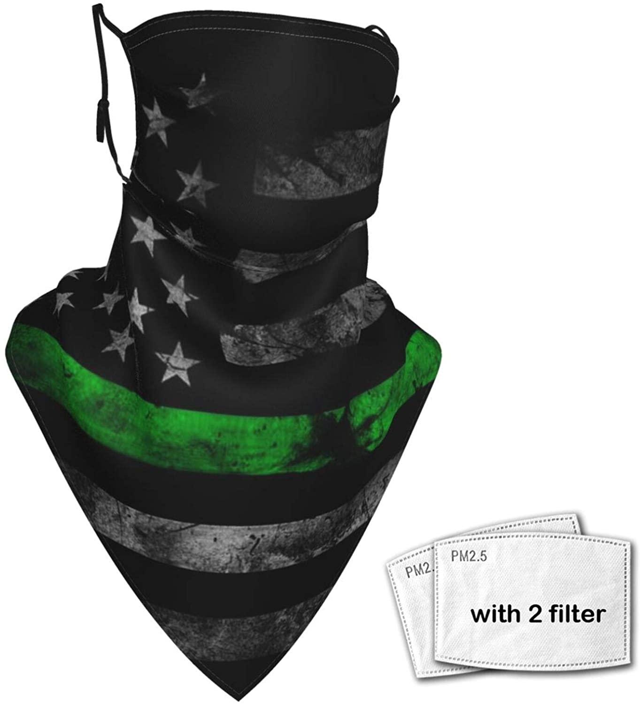Face Bandana Mask American Thin Green Line Flag Reusable Sun Scarf Washable Headwear Ear Loops Neck Gaiter For Men Women (2 Filters)