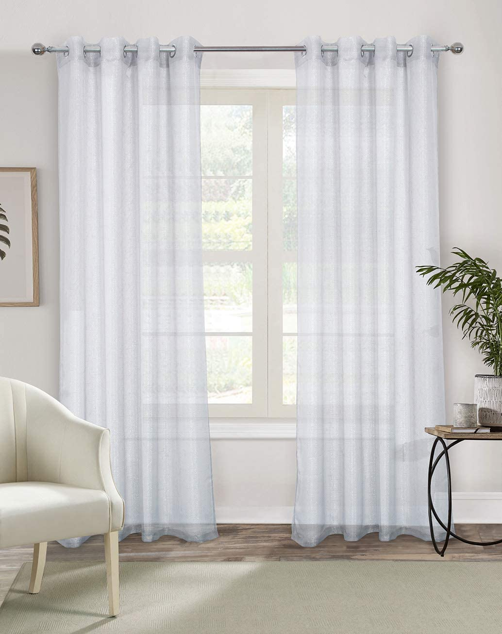 Alexandra Cole White Semi Sheer Curtains 84 Inches Long Light Filtering Curtains for Bedroom Voile Grommet Window Curtains Drapes for Living Room with Gold Wire 2 Panels