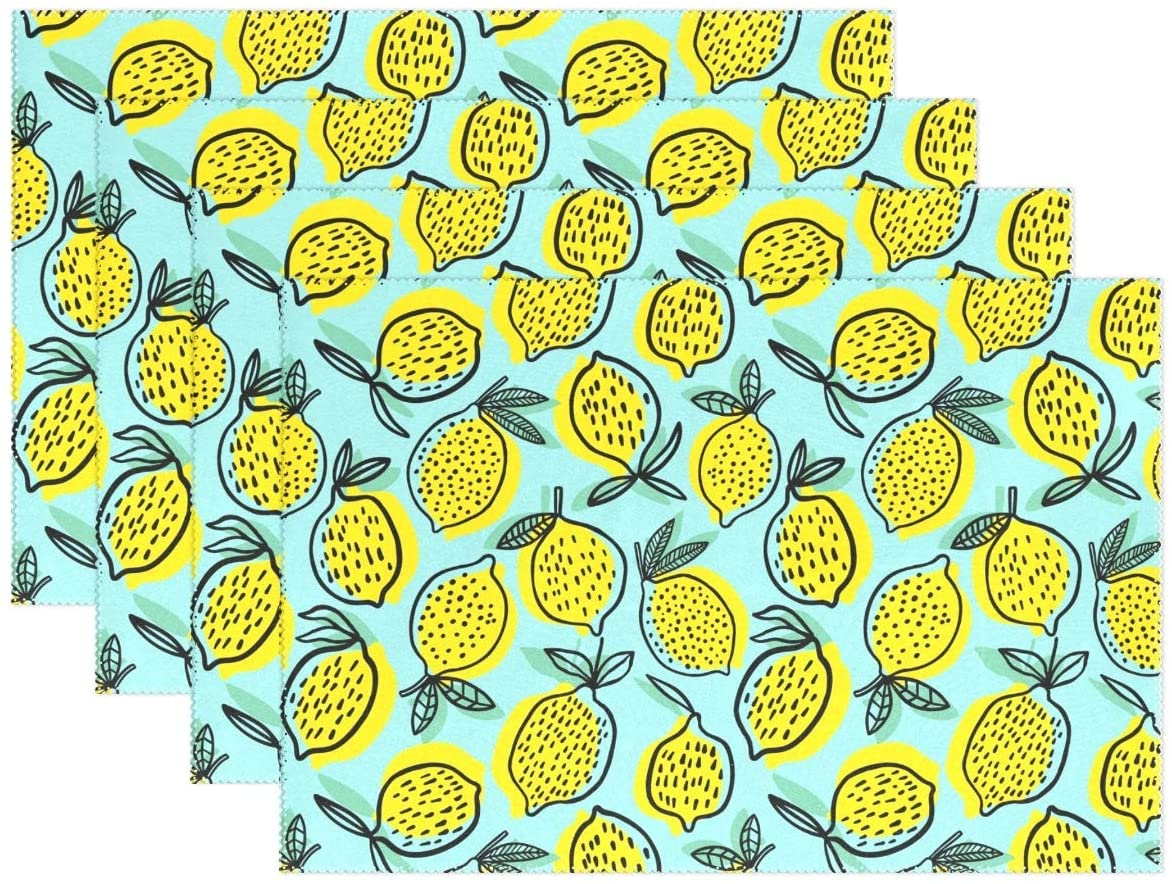 visesunny Placemat Table Mat Desktop Decoration Cute Yellow Lemon with Dot Placemats Set of 4 Non Slip Stain Heat Resistant for Dining Home Kitchen Indoor 12x18 in