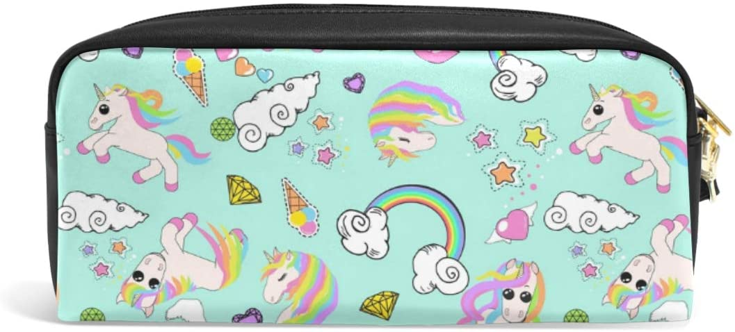 Pencil Case Big Capacity Pencil Bag Makeup Pen Pouch Unicorns Rainbow Clouds Heart Stars Durable Students Stationery Pen Holder for School/Office