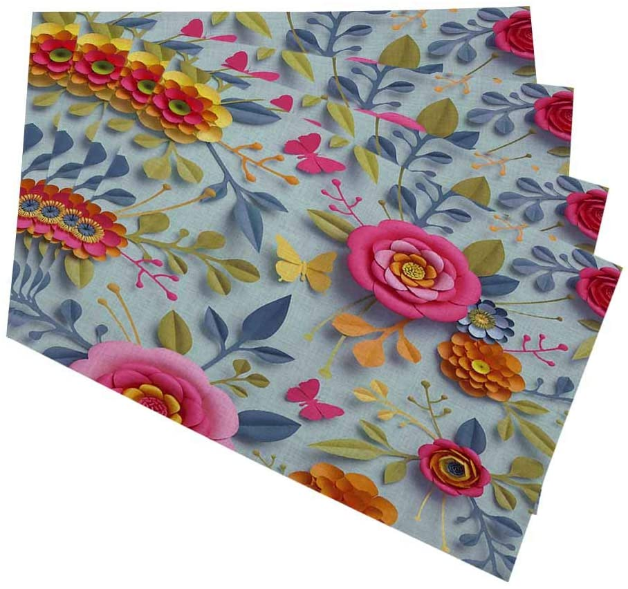 oFloral 3D Flowers Placemats for Kitchen Dining Table Set of 4 Fall Botanical Thanksgiving Floral Bouquet, Bright Autumn Colors Linen Washable Heat Resistant Place Mats