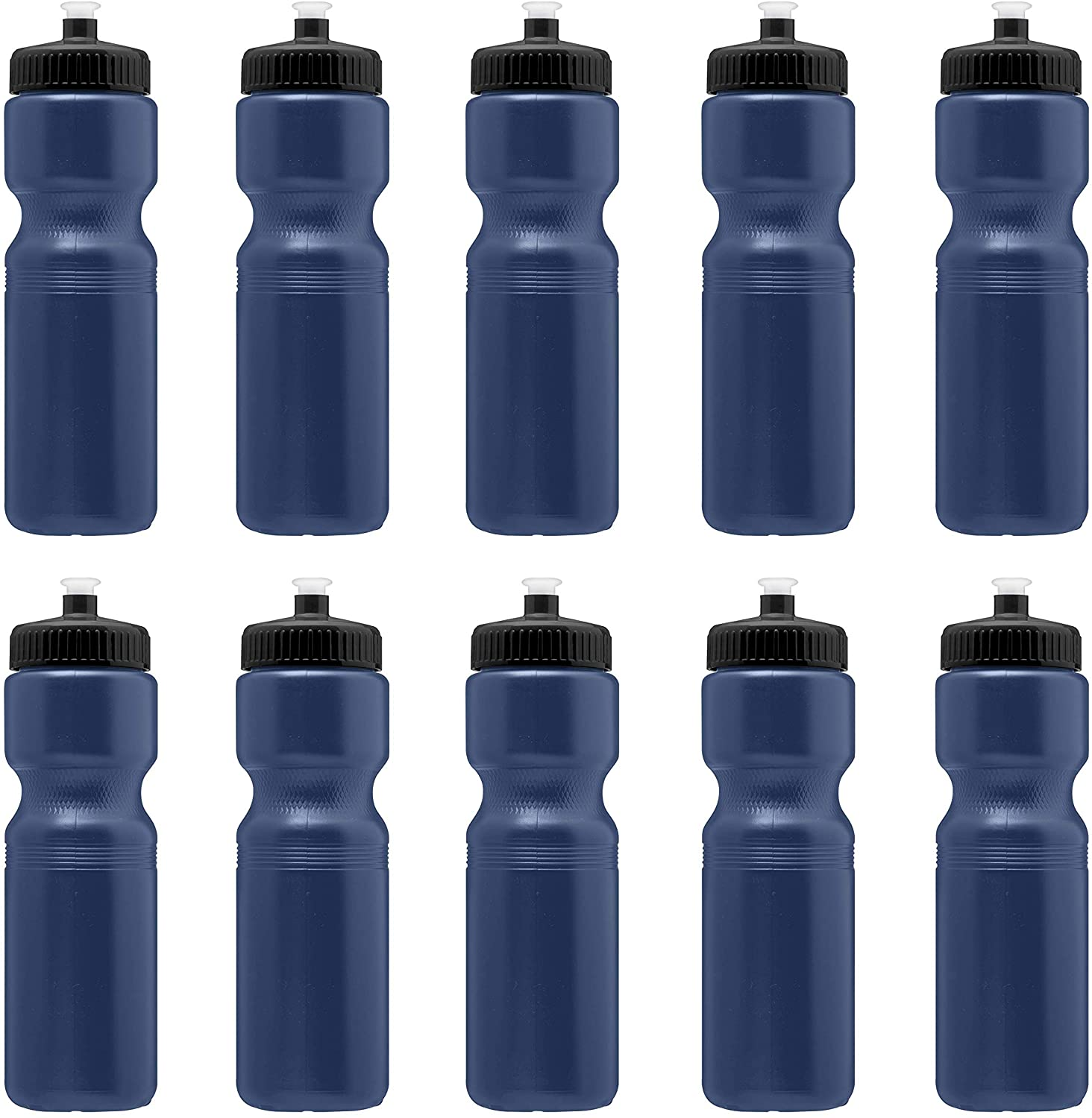 Water Bottles with Push Cap - 10 pack - 28 oz - Classic Squeeze Mountain Road Bike Bicycle Holder Cycling Water Bottle - Great for Sports - Navy Blue