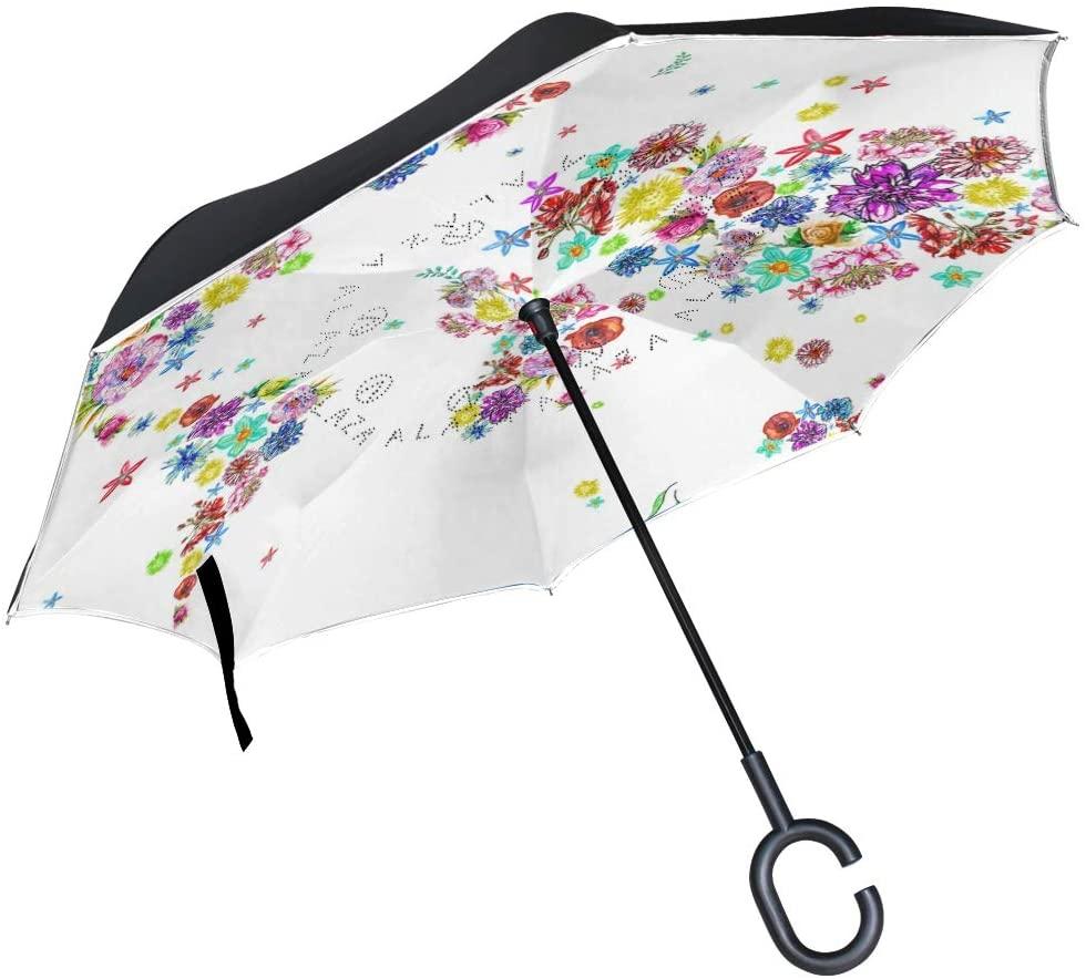 senya Double Layer Inverted Umbrella Illustration of World Map in Flowers Reverse Folding Umbrella C Shape Handle Car Travel Golf Umbrella