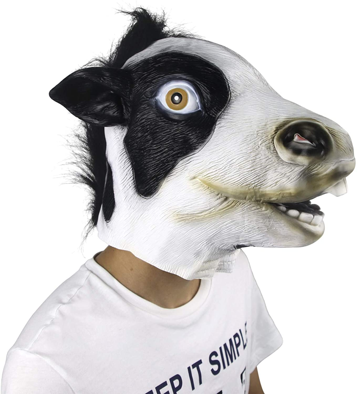 Demi Sharky Dairy Cow Mask Funny Halloween Costume Party Latex Animal Cosplay Full Head Adult White