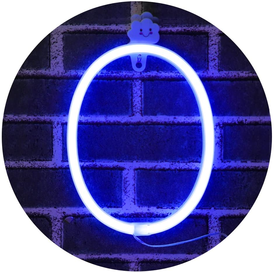 LED Light Up Numbers Neon Lights, Neon Signs Night Light Lamp for Wall Decor, Christmas, Birthday Party, Home Decorations -blue Number 0