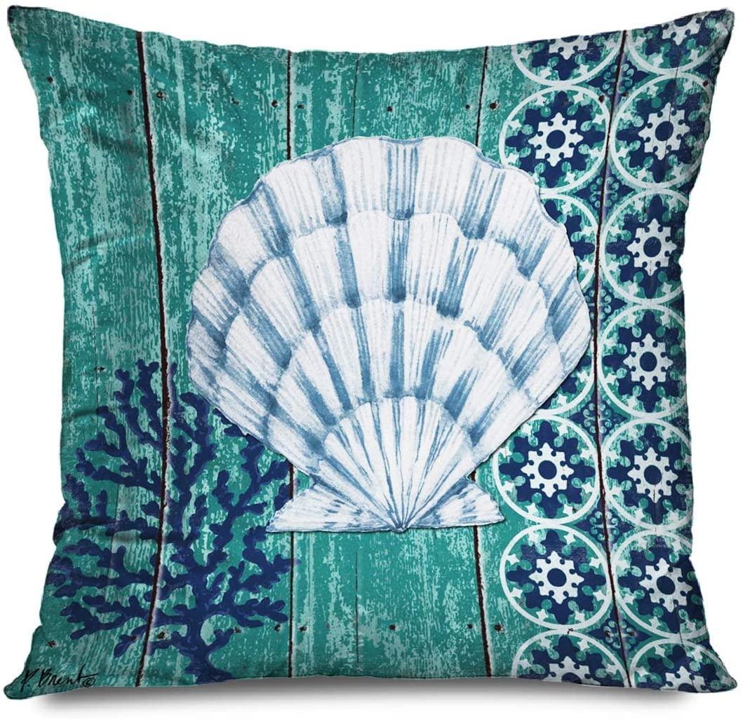 ~ Sea Pillowcase Sea Theme Nautical Green Sea Shells Decorative Throw Pillows Cushion Cover for Bedroom Sofa Living Room 18 x 18 Inches