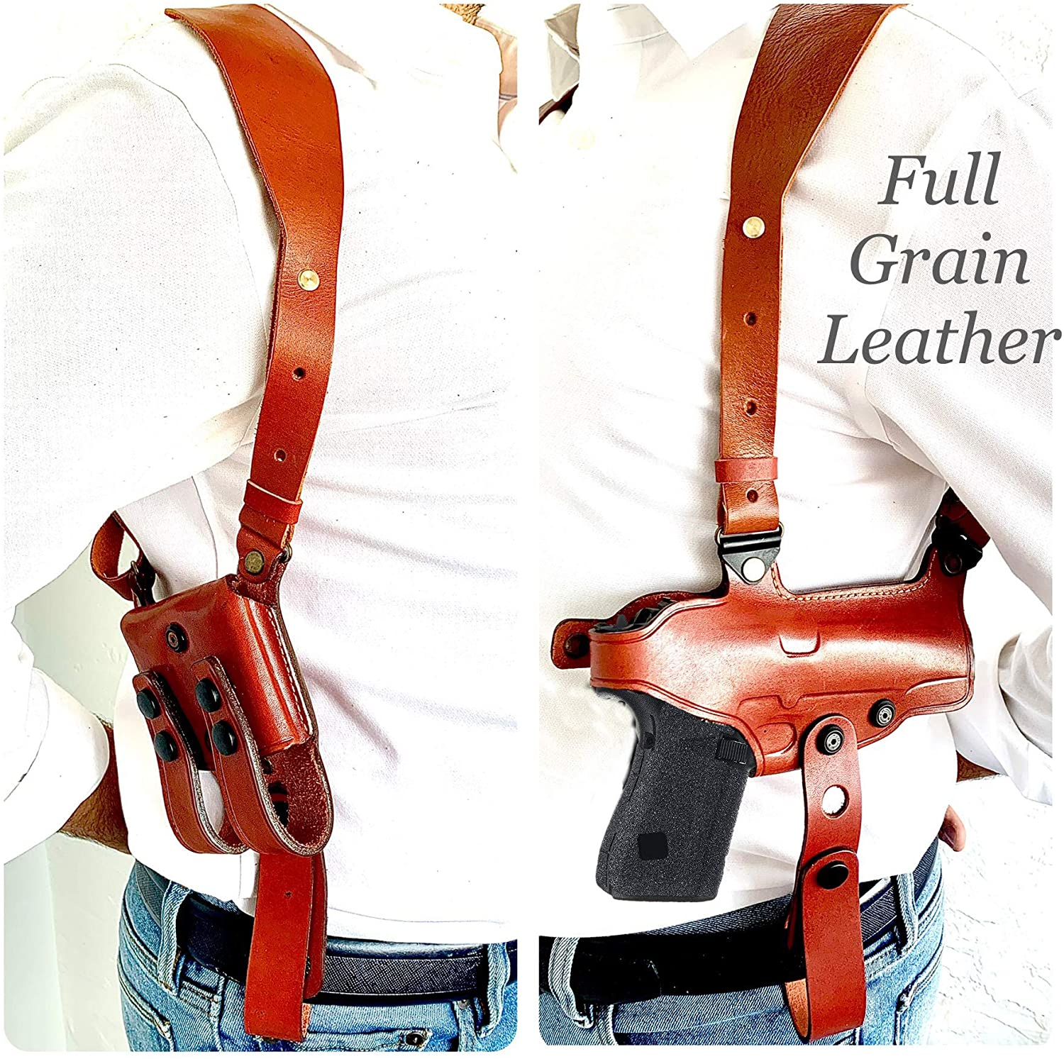 Aysesa Rig for Glock 19 Leather Shoulder Holster fits Many Glock Pistols: Glock 17/19 / 23/26 / 32/43 / Right Handed/Mag Pouches and Tie Down Straps Included Full Set (Tan Brown)