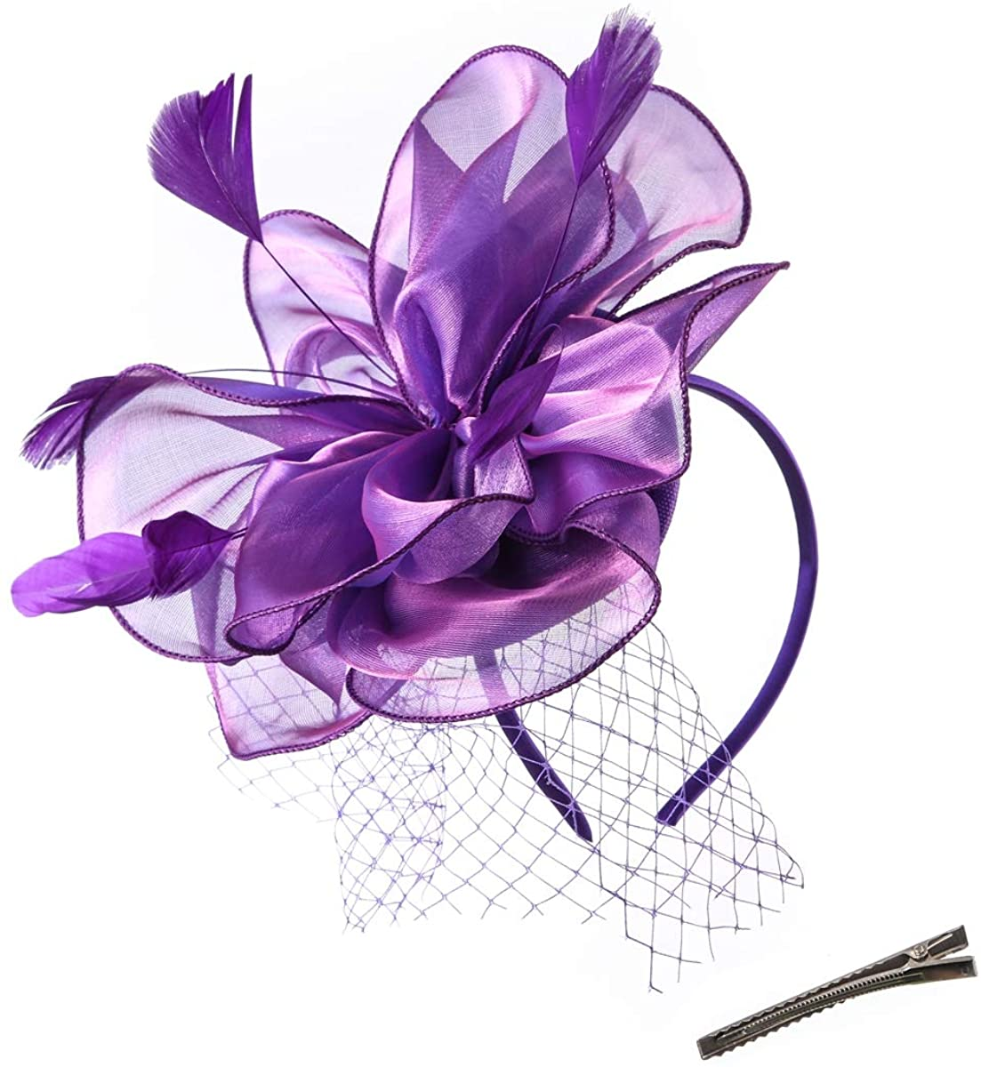 JAWEAVER Fascinators Hat Feather Satin Tea Party Cocktail Headwear Church Hat for Women Girls