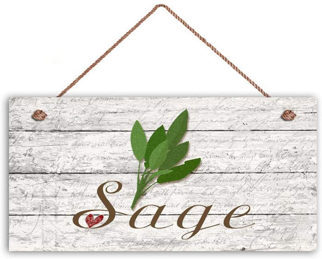 MAIYUAN Sage Sign, Garden Sign, Rustic Decor, Herb on Distressed Wood, 5