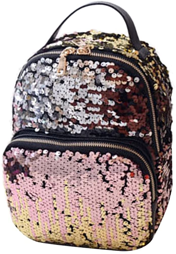 OULII Fashion Sequins Backpack Casual Shoulder PU Bags Travel Daypack for Women Girls (Pink)