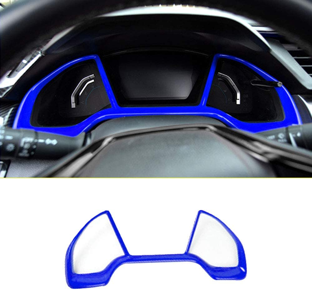 Boltry ABS Engineering Plastics,Carbon Fiber Print Car Dashboard Decorative Frame Cover Dash Board Instrument Panel Dial Trim Inner Accessories for Honda 10th Civic 2016 2017 2018 2019 2020 (Blue)
