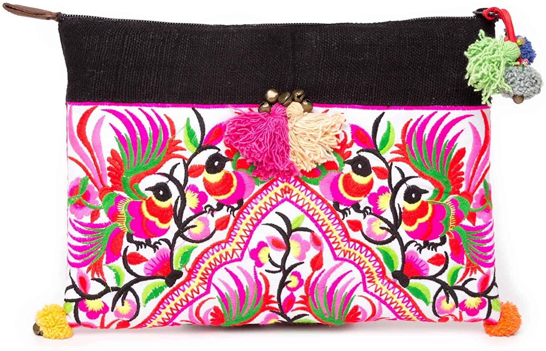 Changnoi Fair Trade Thai Artisan Clutch Bag Ipad Holder with Tribal Hmong Embroidered