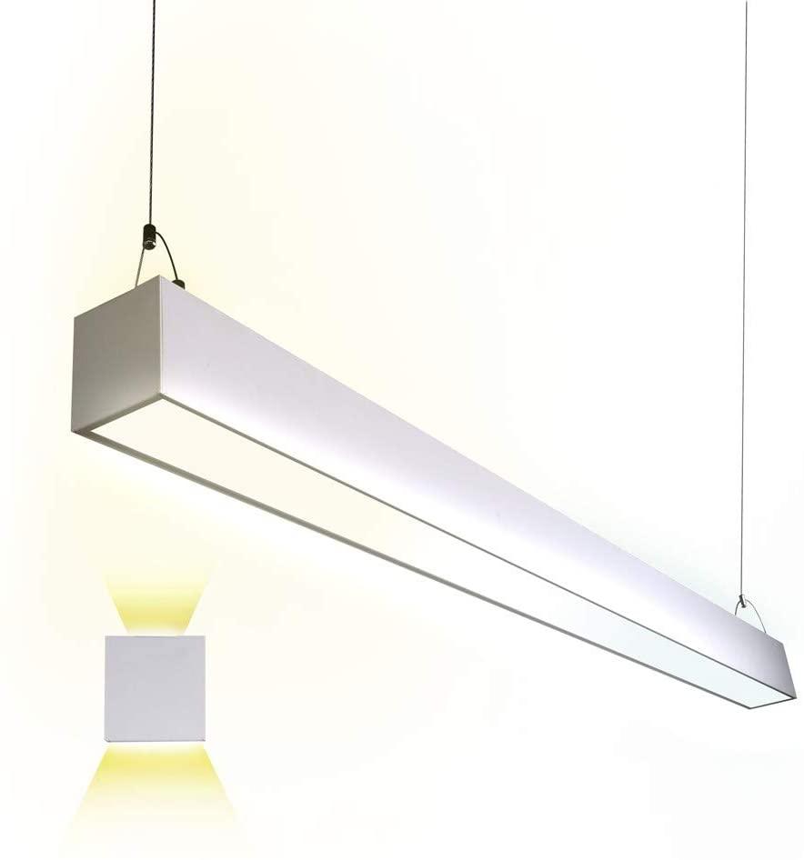 Euri Lighting EUD4-50W103sw, Linkable 4FT CCT Tunable Linear Up/Down Light, 50W, 6500lm, 3000K/4000K/5000K, 120-277V, Damp Rated, 0-10V Dimmable, ETL & DLC Certified, 5YR, 50K HR Warranty