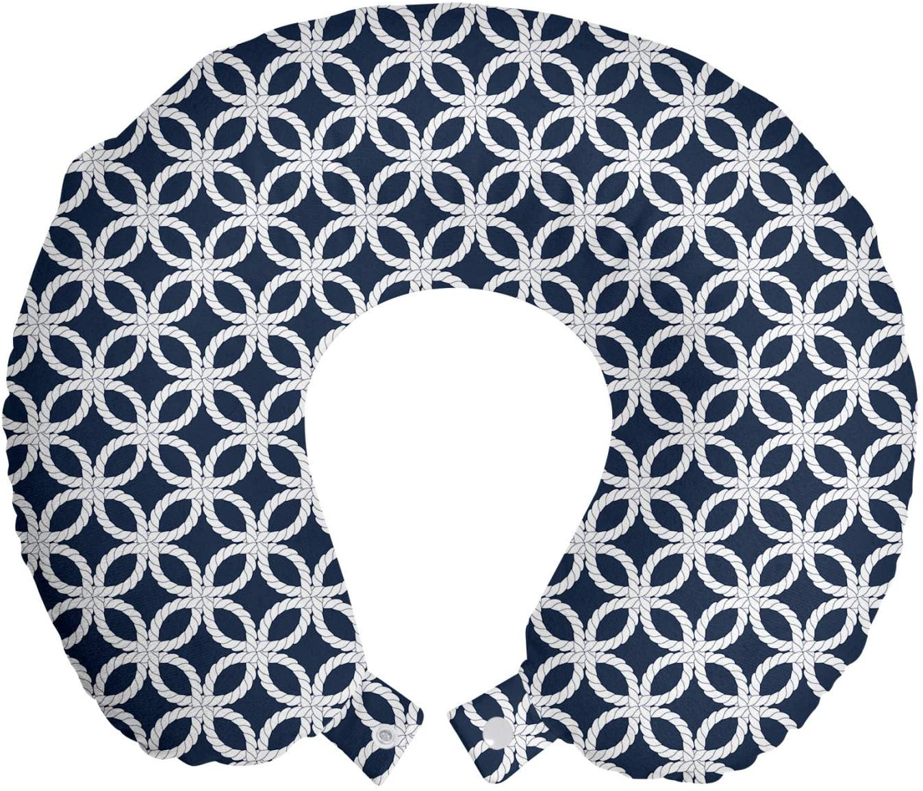 Ambesonne Navy Blue Travel Pillow Neck Rest, Marine Rope in Geometric Pattern Design Ocean Travel Cruise Mosaic Ornament, Memory Foam Traveling Accessory for Airplane and Car, 12