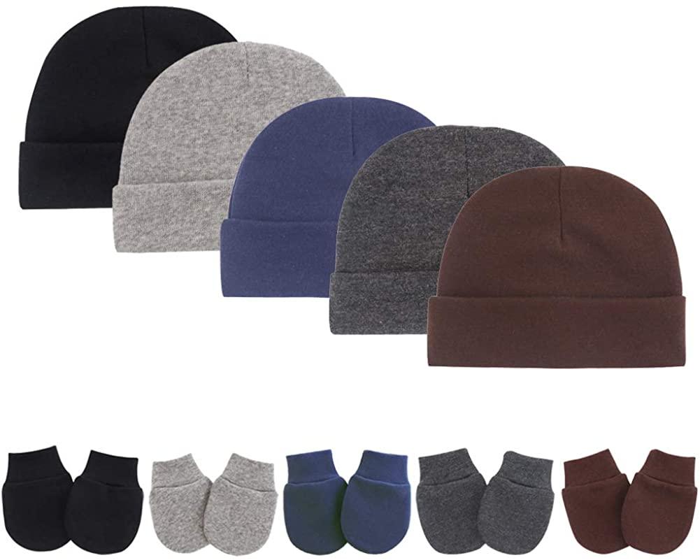 Newborn Infant Baby Boys Hat Mittens Set Cotton Gloves Beanie Skull Caps Hats for Baby Girls 0-10 Months 10-Piece