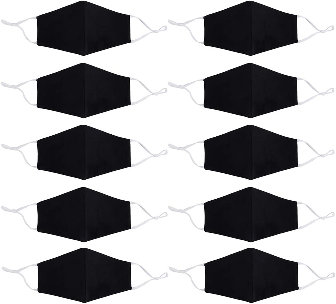 10 pcs Reusable Fabric Face covering Unisex - black comfortable Washable Breathable Outdoor Mouth cloth Covering Protection Men and Women (10)
