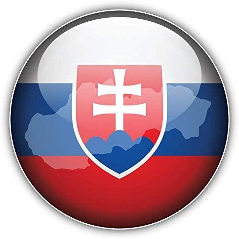 JJH Inc Slovakia Glossy Flag Map Label Vinyl Decal Sticker Waterproof Car Decal Bumper Sticker 5