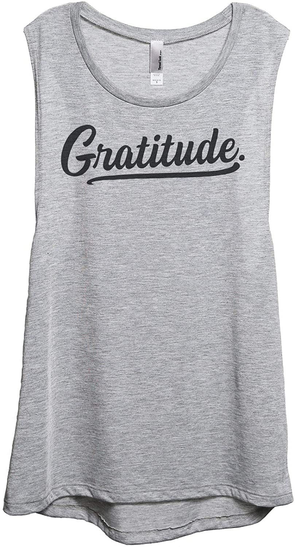 Gratitude Women's Fashion Sleeveless Muscle Tank Top Tee