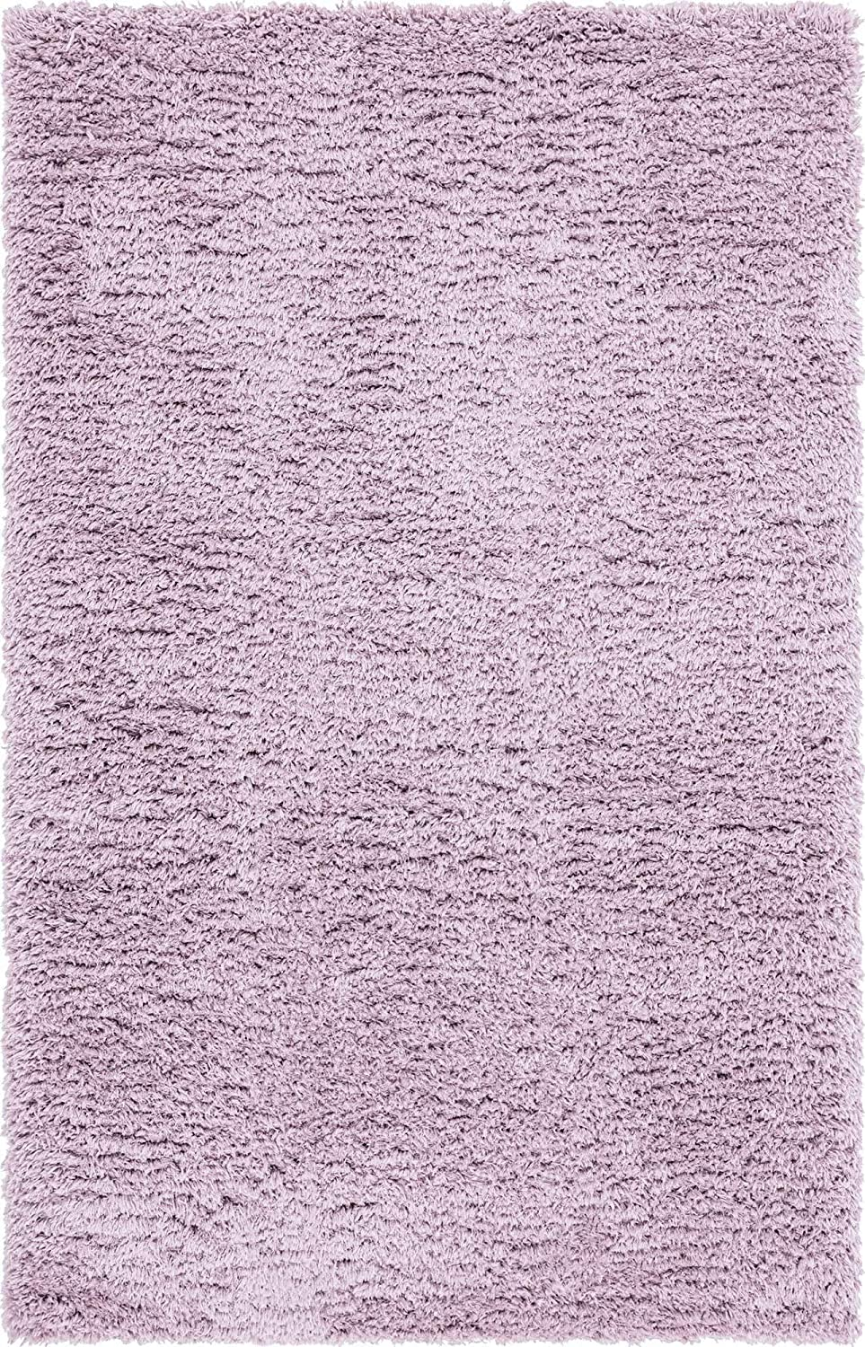 Infinity Collection Solid Shag Area Rug by Rugs.com – Lavender 7' x 10' High-Pile Plush Shag Rug Perfect for Living Rooms, Bedrooms, Dining Rooms and More