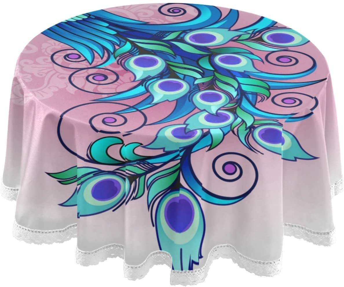 SUABO Table Cloth Beautiful Peacock Round Table Cover Washable Polyester Tablecloth for Parties Holiday Dinner Restaurant 60 Inch