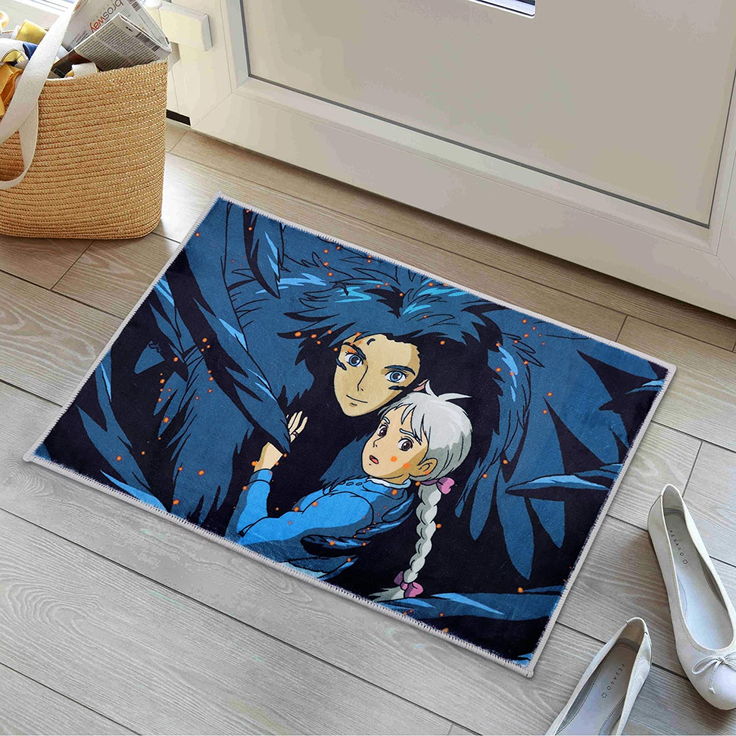 Howls Moving Castle Rug Anime Area Rugs for Boys Living Room Non-Slip Mats for Bathroom 16x24 Inches