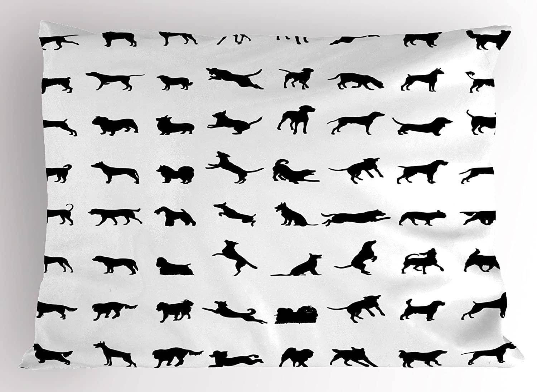Lunarable Black and White Pillow Sham, Different Silhouettes Dogs Various Breeds Corgi Golden Retriever Pitbull, Decorative Standard Size Printed Pillowcase, 26