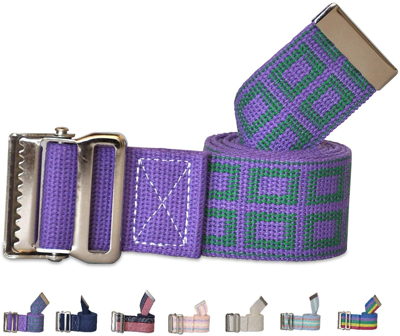 NYOrtho Metal Buckle Gait Belt - Adjustable Machine Washable Strong and Durable Cotton Material Latex Free, Lavender, 60