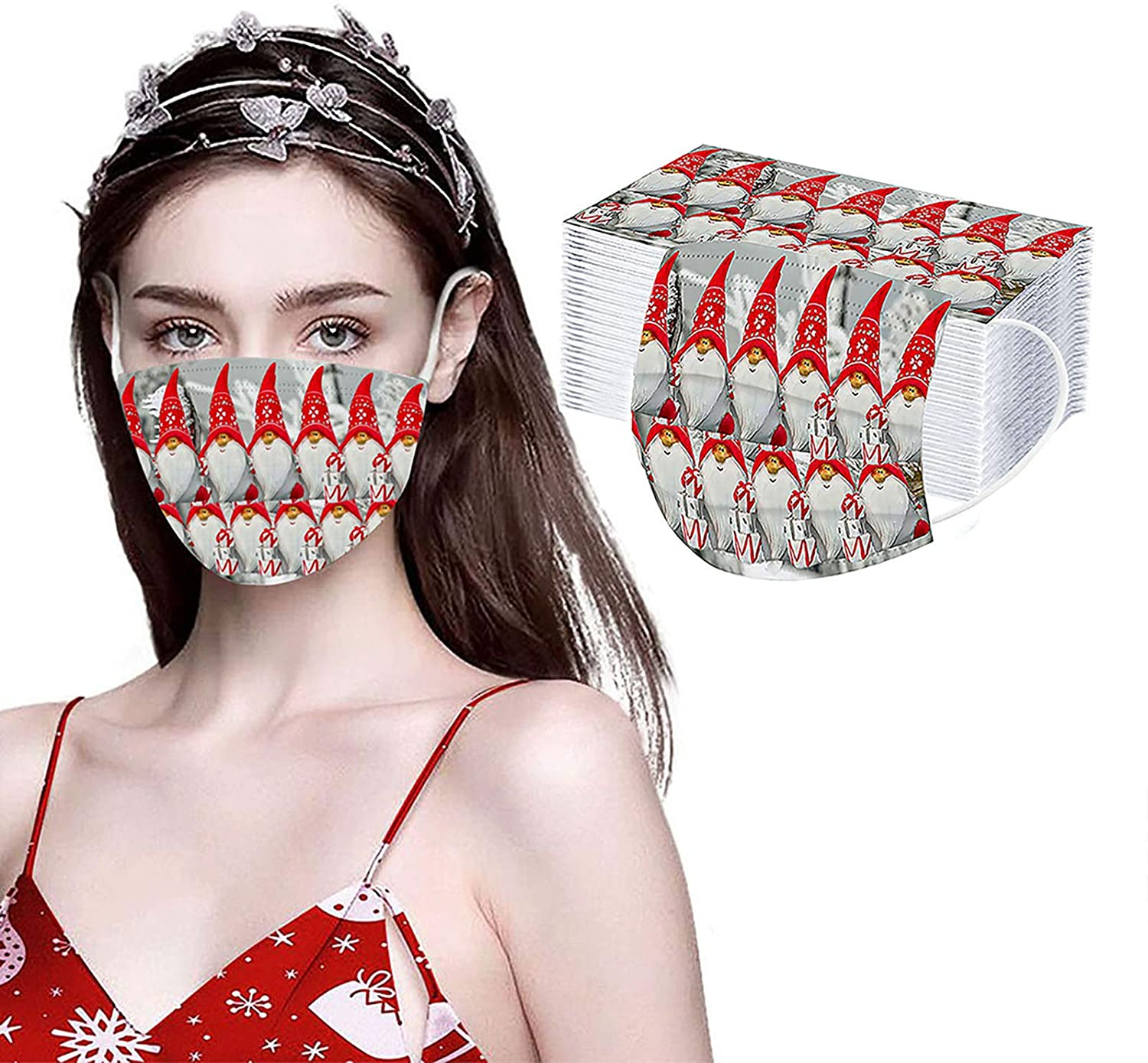 Christmas Face_Mask Print Patterns Cute Adult Disposable,3Ply Nonwoven Protective Face Covering Fashion Balaclava Women