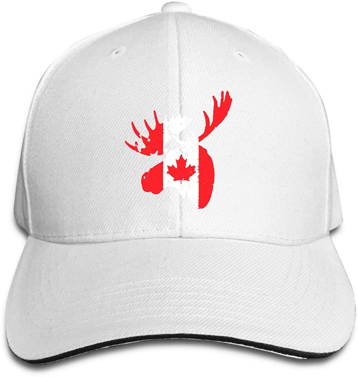 Moose Maple Leaf Canada Unisex Sandwich Baseball Cap Adjustable Snapback Hat Hunting Casquette