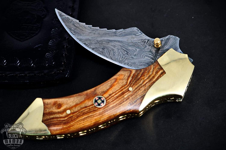 BLACK MAMBA KNIVES Bmk-439 Peshkabz 9.5 Long 4.5 Blade 9 Ounce Damascus Pocket Knife Handmade Damascus Pocket Folding Knife with Leather Cover Hand Made Word Class Knives